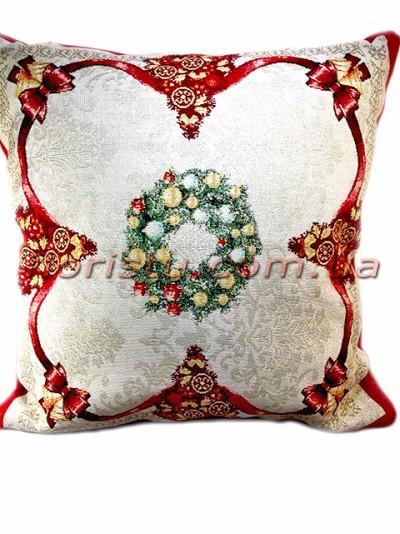 Новогодняя гобеленовая подушка EMILY HOME 45*45 см №3 Серебро