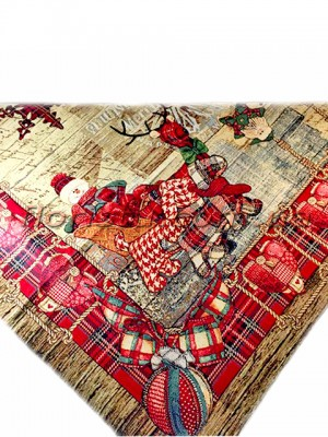 Новогодняя гобеленовая скатерть EMILY HOME 100*100 см №7