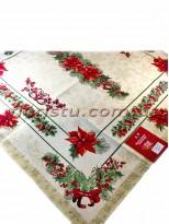 Новогодняя гобеленовая скатерть EMILY HOME 140*140 см №6 Золото