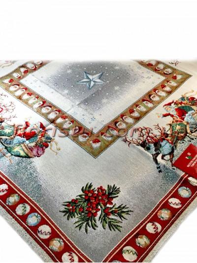 Новогодняя гобеленовая скатерть EMILY HOME 140*140 см №15