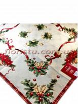 Новогодняя гобеленовая скатерть EMILY HOME 90*90 см №2 Золото