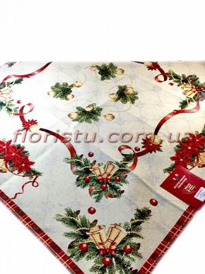 Новогодняя гобеленовая скатерть EMILY HOME 140*140 см №2 Золото