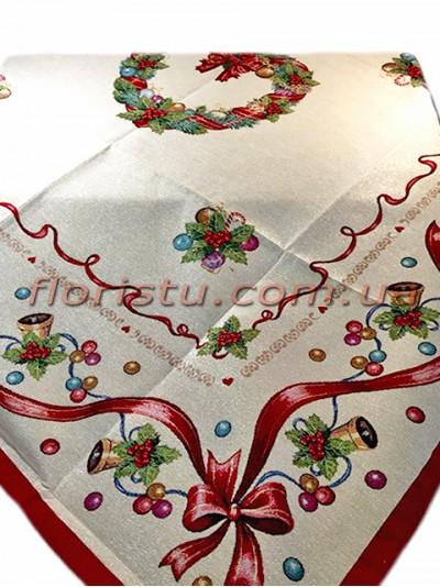 Новогодняя гобеленовая скатерть EMILY HOME 90*90 см №16