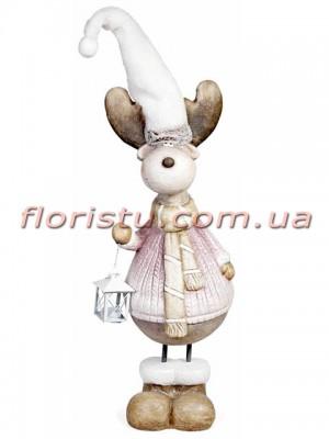 Новогодняя фигура Олень с фонариком Розовый 72 см
