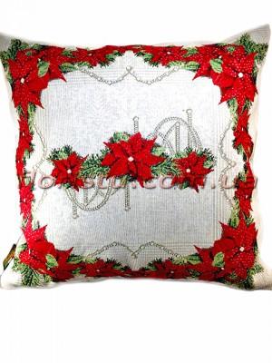 Новогодняя гобеленовая подушка EMILY HOME 45*45 см №8
