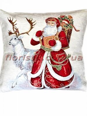 Новогодняя велюрово-гобеленовая подушка EMILY HOME 45*45 см №1