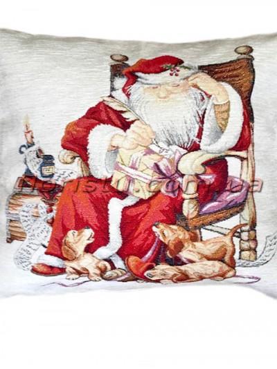 Новогодняя велюрово-гобеленовая наволочка EMILY HOME 45*45 см №10