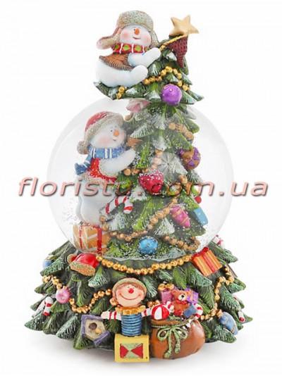 Новогодний водяной шар Праздничная елка на заводном механизме с музыкой 18 см