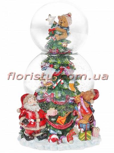 Новогодний водяной шар Рождественская ель на заводном механизме с музыкой 20,5 см