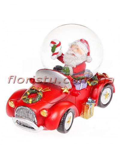 Новогодний водяной шар Санта в машине 6,8 см
