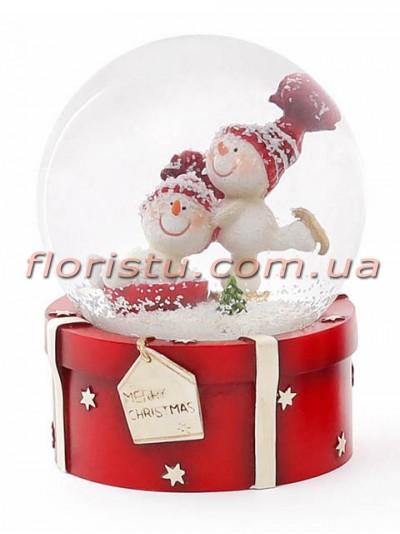 Декоративный водяной шар Снеговики 9 см №1