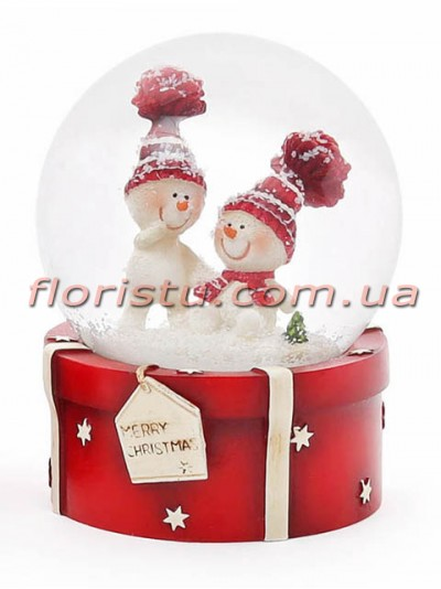 Декоративный водяной шар Снеговики 9 см №2