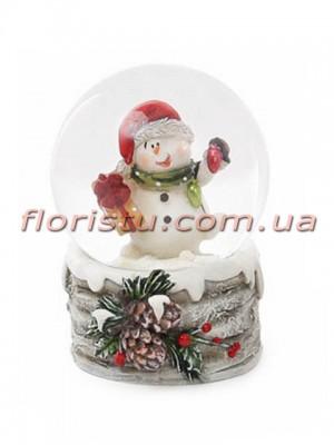 Декоративный водяной шар Снеговик с подарком 6,5 см