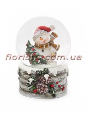 Декоративный водяной шар Снеговик с елочкой 6,5 см