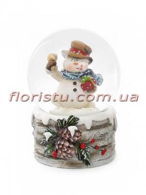 Декоративный водяной шар Снеговик с колокольчиком 6,5 см