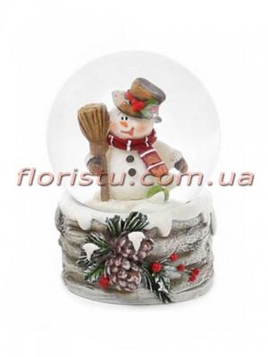 Декоративный водяной шар Снеговик с веником 6,5 см