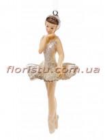 Декоративная подвесная фигурка Балерина в золотистом 11 см №2