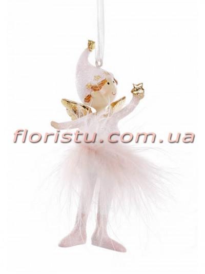 Новогодняя фигурка-подвеска полистоун Девочка Ангел 10 см №1