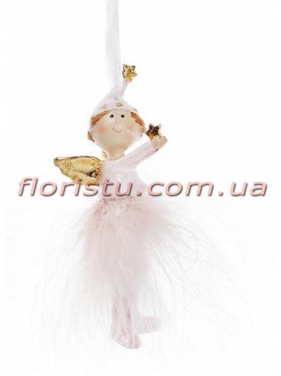 Новогодняя фигурка-подвеска полистоун Девочка Ангел 10 см №2