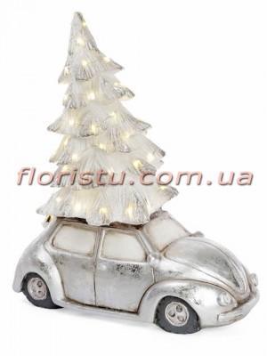 Новогодний керамический декор Машина с елкой под серебро и LED-подсветкой 49 см