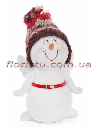 Новогодняя фигурка полистоун Снеговичок с поясом 11,5 см