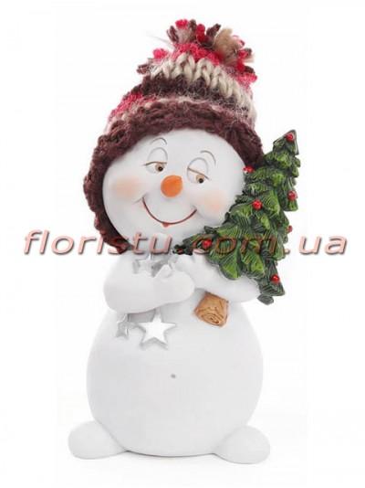 Новогодняя фигурка полистоун Снеговичок с елочкой 11,5 см