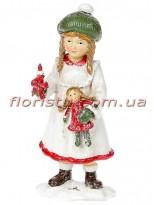 Новогодняя статуэтка из полистоуна Девочка 12 см