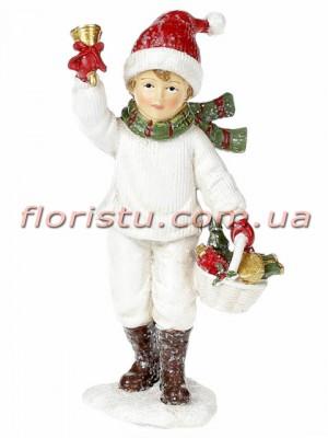 Новогодняя статуэтка из полистоуна Мальчик 13 см
