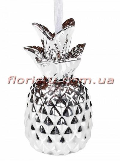 Новогодняя декоративная подвеска Ананас серебро 8,5 см