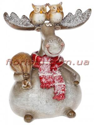 Новогодняя декоративная фигурка Лось с совушками 18 см