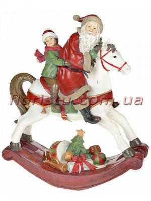Новогодняя декоративная фигура Санта на лошади 36 см
