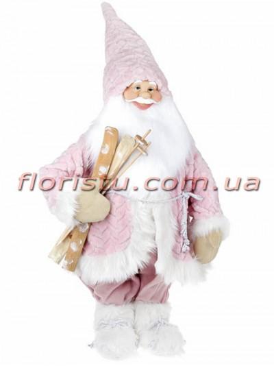 Новогодняя фигура Санта с лыжами 90 см