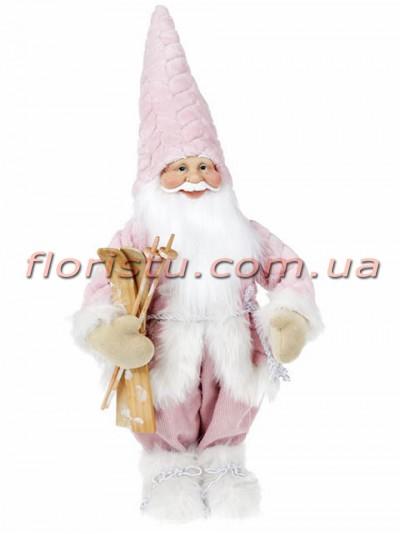 Новогодняя фигура Санта с лыжами 44 см