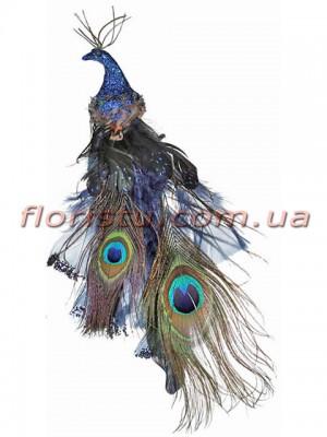 Декоративная новогодняя птица с клипсой Синяя 27 см