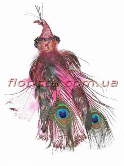 Декоративная новогодняя птица с клипсой Розовая 27 см