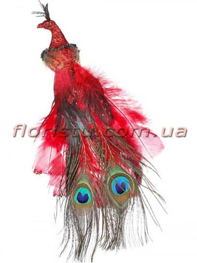 Декоративная новогодняя птица с клипсой Красная 27 см