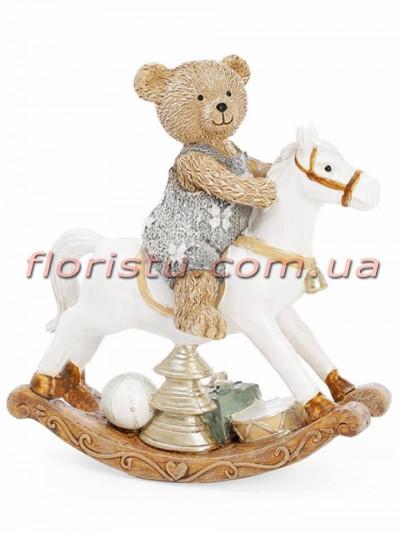 Декоративная статуэтка из полистоуна Мишка на лошадке 15 см