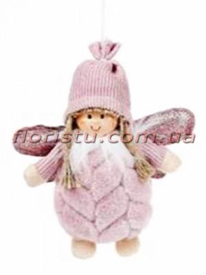 Мягкая новогодняя фигурка-подвеска Девочка Ангелочек 15 см №1
