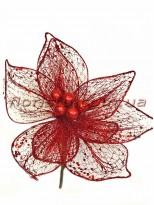 Пуансеттия новогодняя сеточка премиум класса Красная 27 см
