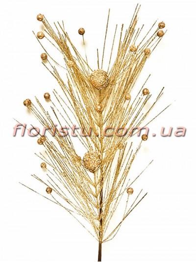 Декоративная новогодняя ветка премиум Золото 77 см