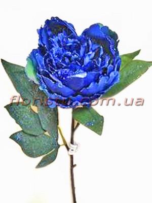 Пион новогодний Синий премиум класса 56 см гол. 10 см