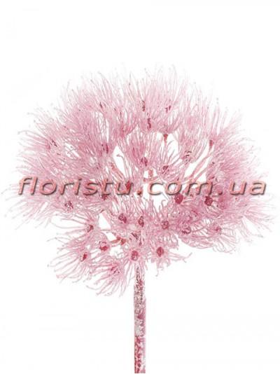 Декоративный новогодний цветок Розовый 65 см