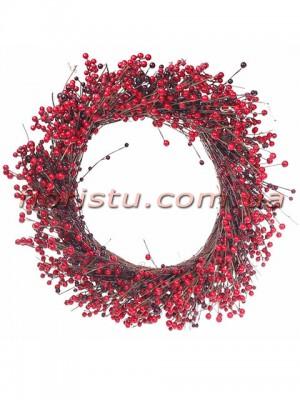 Венок рождественский Премиум с красными ягодами 60 см