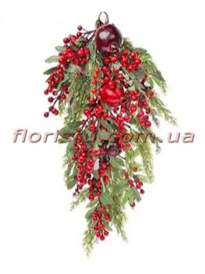 Ампельная ветка из искусственной хвои с ягодами и гранатами премиум класса 70 см