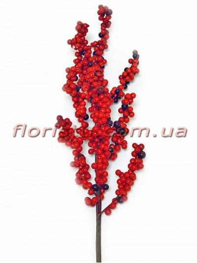 Ветка с мелкими красными ягодами 60 см