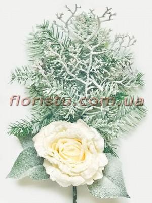 Ветка новогодняя заснеженная с розой премиум класса 60 см