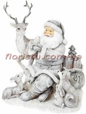Декоративная статуэтка из полистоуна Санта и лесные жители 19,5 см