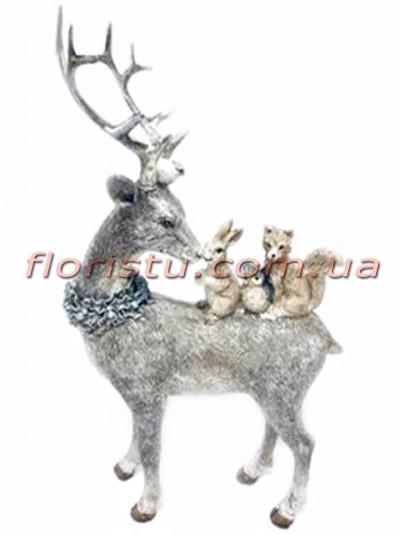 Декоративная фигура из полистоуна Олень и лесные жители 27 см