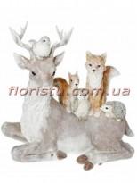 Декоративная фигура из полистоуна Олень и лесные жители 44 см