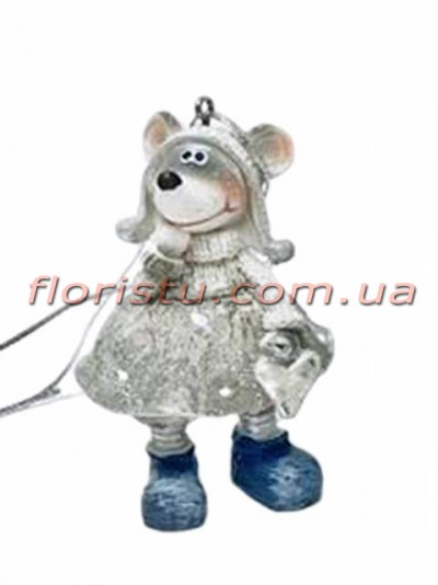 Декоративная фигурка-подвеска из полистоуна Мышка в свитере 7 см